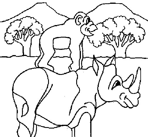 Rhinoceros and monkey coloring page