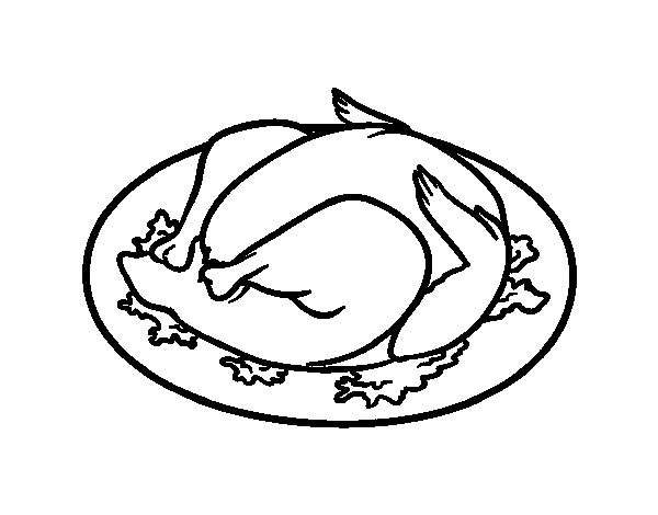 Roasted chicken coloring page