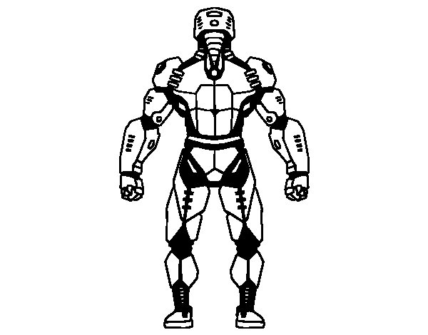 Robot back coloring page