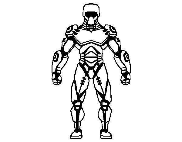 Robot fighter coloring page