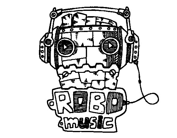 Robot music coloring page