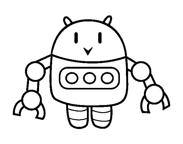 Robot With Tweezers Coloring Page