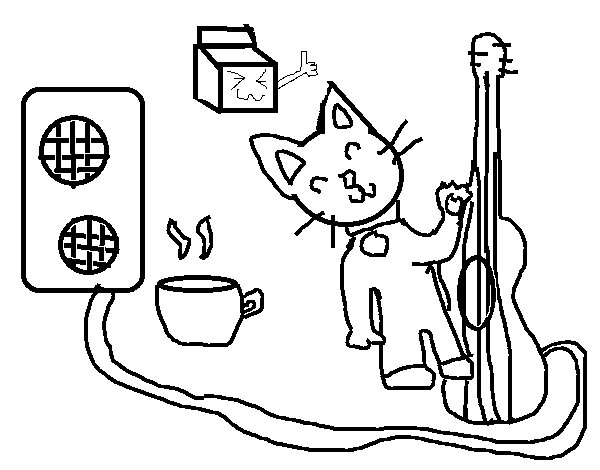 Rocker cat coloring page