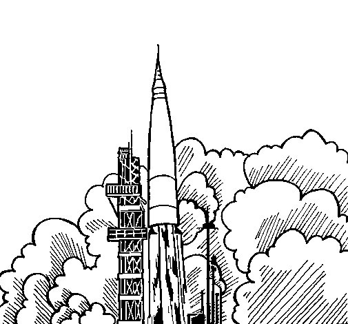 Rocket launch coloring page