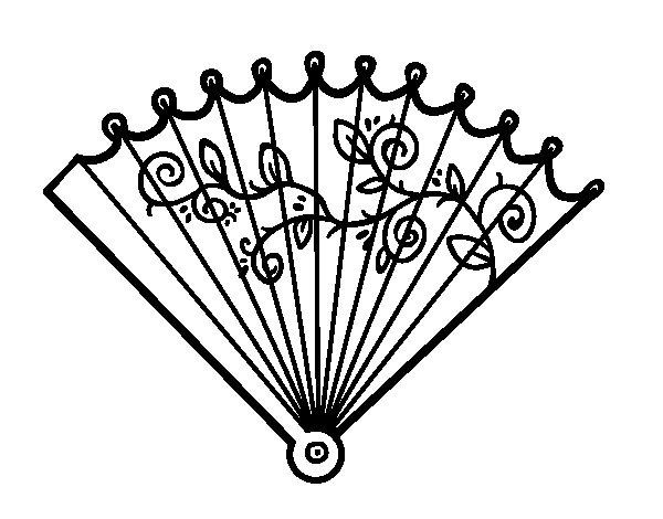 Rococo hand fan coloring page