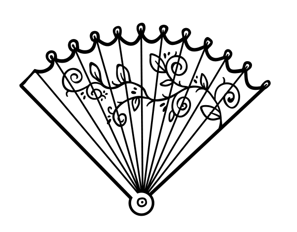 fan coloring pages - rococo hand fan coloring page