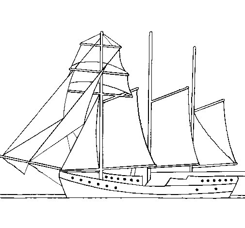 Sailing boat with three masts coloring page