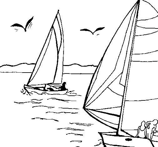 Sails at high sea coloring page