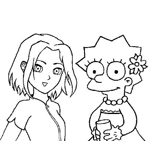 Sakura and Lisa coloring page