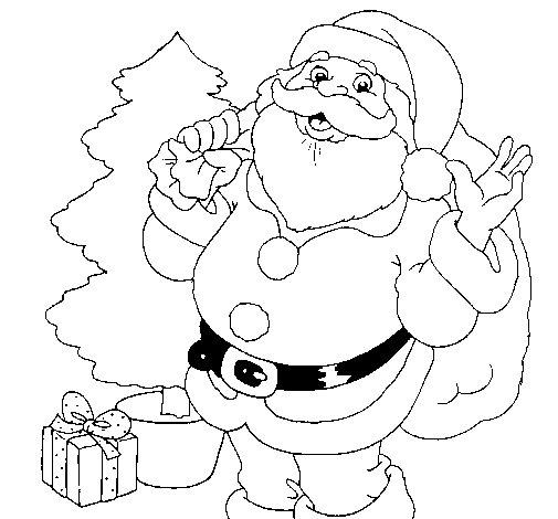 Santa Claus and a Christmas tree coloring page  Coloringcrewcom