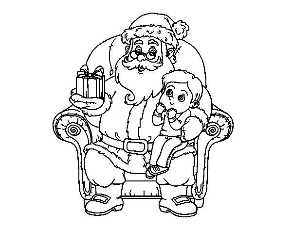 Santa Claus and child at Christmas coloring page