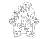 Santa Claus and child at Christmas coloring page