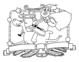 Santa Claus and Christmas reindeer coloring page