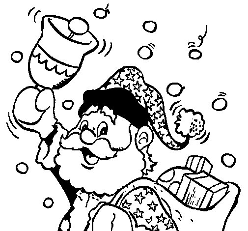 Santa Claus and his bell coloring page
