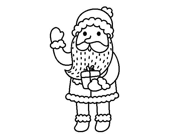 Santa Claus and his gift coloring page