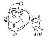 Santa Claus and reindeer coloring page