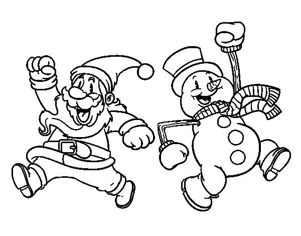 Santa Claus and snowman jumping coloring page