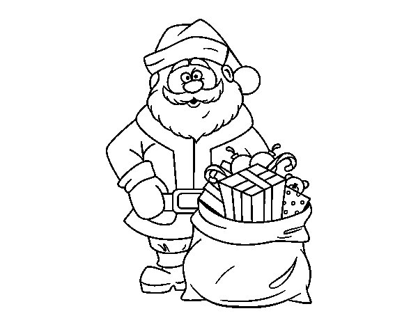 Santa Claus with a bag of gifts coloring page