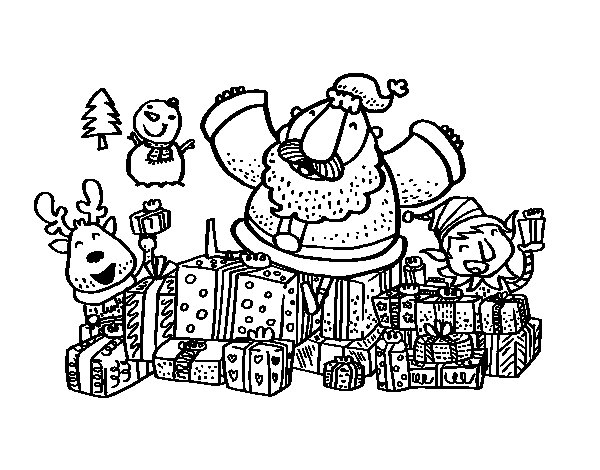 Santa Claus with gifts and joy coloring page