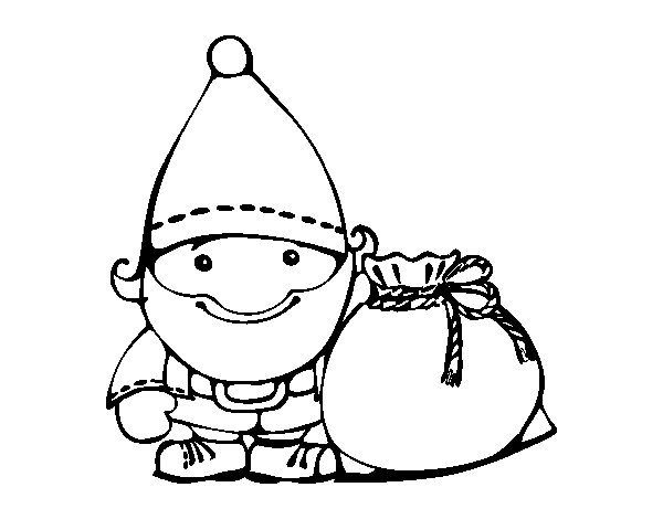 Santa Claus with his sack coloring page