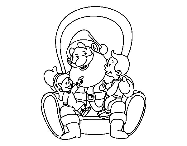 Santa with kids coloring page