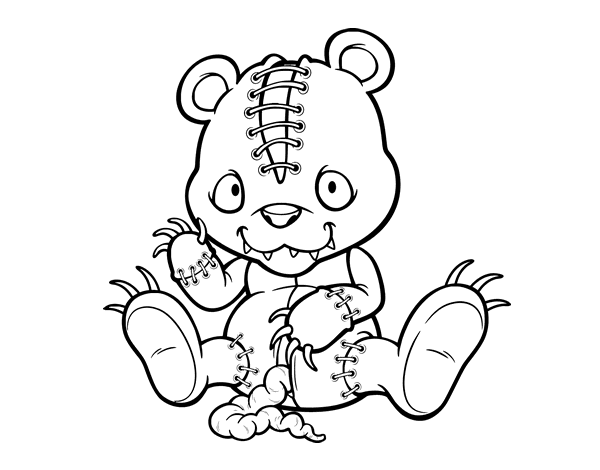 Scary teddy bear coloring page