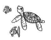 Sea turtle with fish coloring page