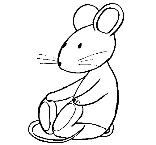 Seated rat coloring page