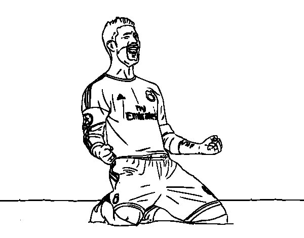 Sergio Ramos celebrating a goal coloring page