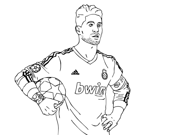 sergio ramos of real madrid coloring page coloringcrew com football game clip art black and white football game clipart images