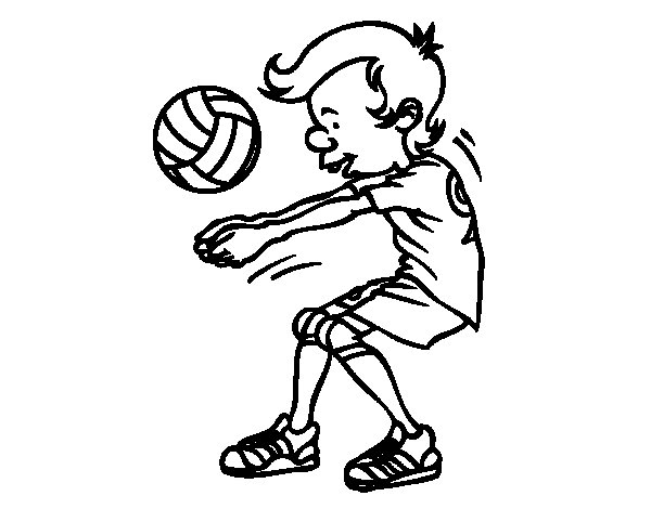 Service volleyball coloring page