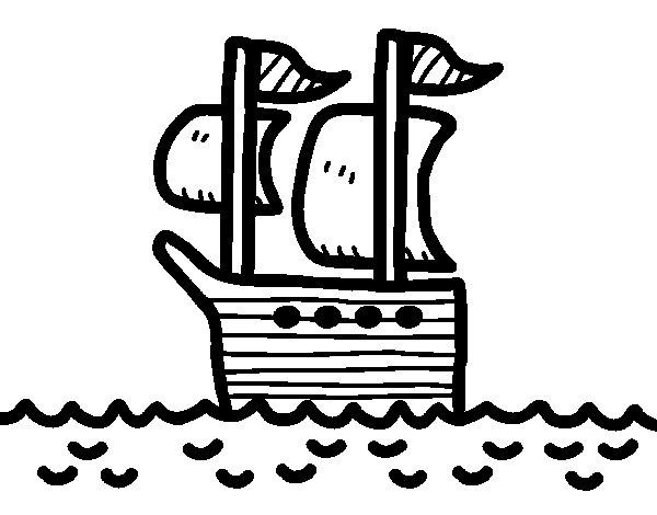 Ship at sea coloring page
