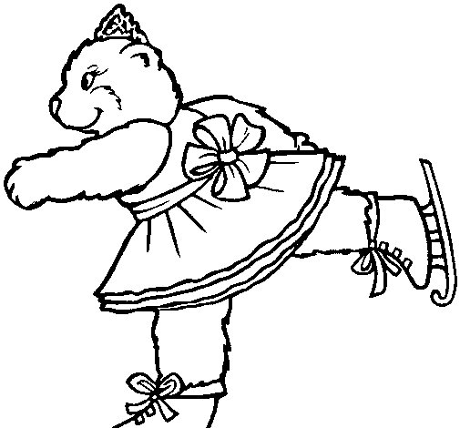Skating bear coloring page