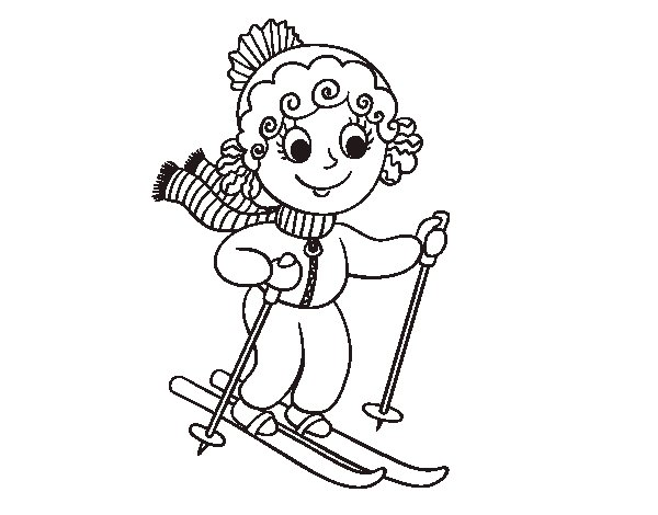 Skier Girl coloring page