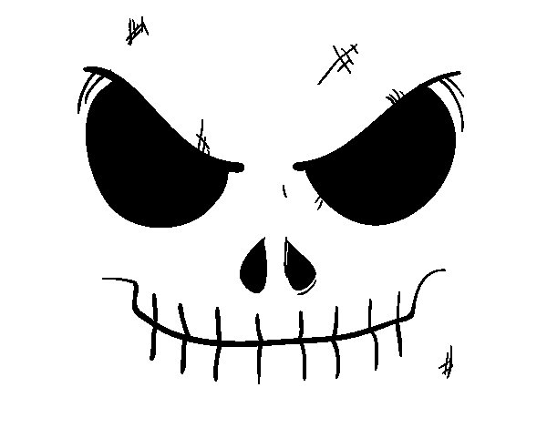 Skull face coloring page
