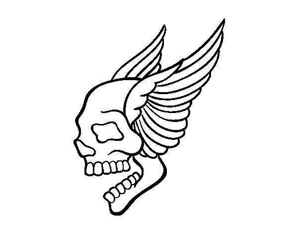 Skull with wings tattoo coloring page
