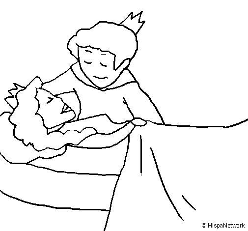 Sleeping princess and prince coloring page