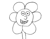 Smiling flower coloring page