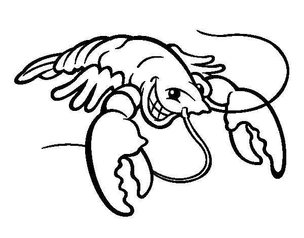 smiling lobster coloring page - Lobster Coloring Page