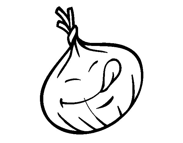Smiling onion coloring page