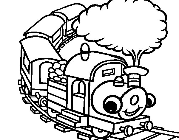 Smiling train coloring page