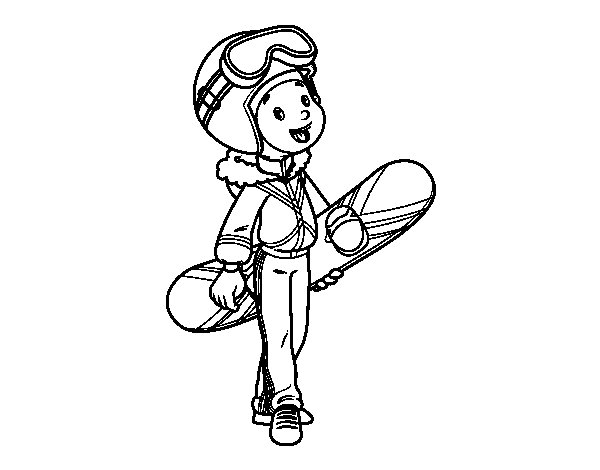 Snowboard girl coloring page