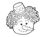 Snowman face coloring page