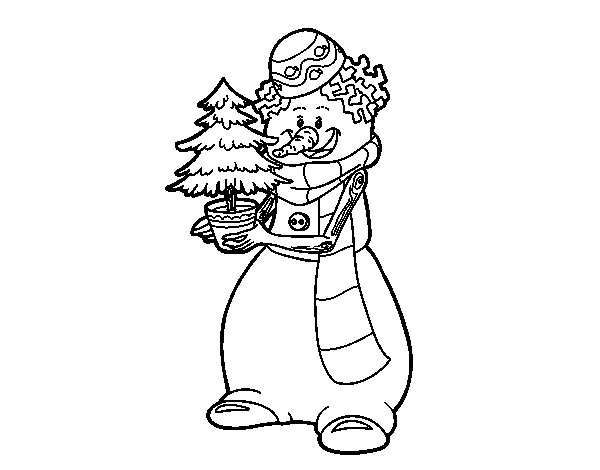 Snowman with Christmas tree coloring page