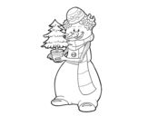 Dibujo de Snowman with Christmas tree
