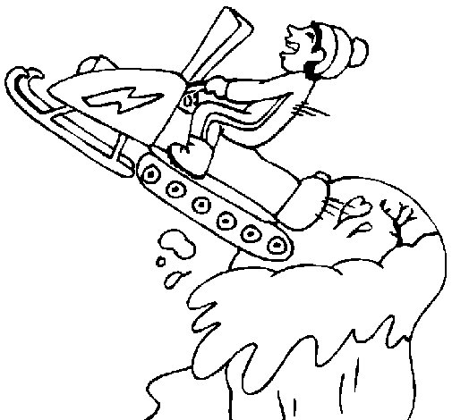 Snowmobile jump coloring page
