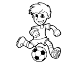 Soccer player with ball coloring page