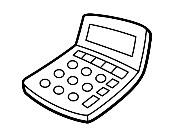 10 ticks calculator coloring book pages | Solar calculator coloring page - Coloringcrew.com