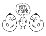 Some easter chickens coloring page