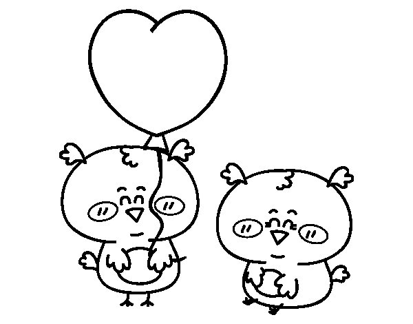 Some little birds in love coloring page